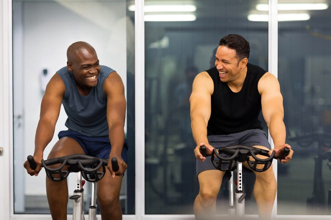 Stationary biking provides a gentle, low-impact workout without putting too much stress on the spine.