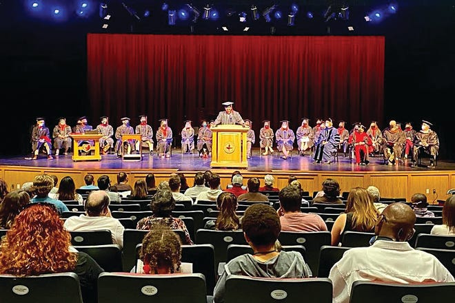 Barclay College President Royce Fraizer addressed the crowd and graduates at the 2020 BC Commencement ceremony which finally took place on October 4, 2020. The event had been delayed and rescheduled because of the coronavirus pandemic.
