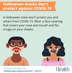 Oregon Health Authority reminds people how to have a low-risk Halloween.