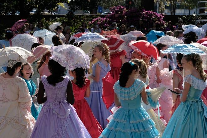 Cape Fear Garden Club Azalea Belles mingle during the Belle Tea Party ahead of the N.C. Azalea Festival on April 3, 2019.