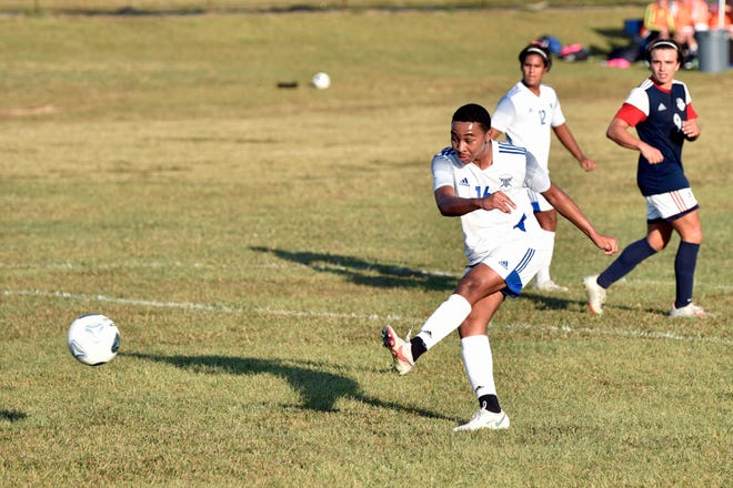 Fayetteville Christian freshman Jaden James scores a goal against a Freedom Christian during an NCISAA Sandhills Conference game on Oct. 8, 2020.