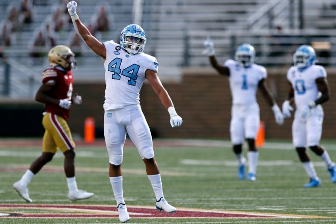 North Carolina linebacker Jeremiah Gemmel and his teammates on defense are tasked with the challenge of combating Virginia Tech's powerful running game Saturday.