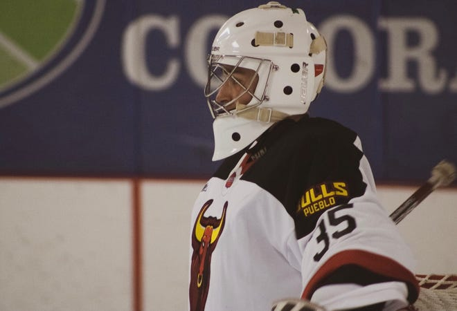 Pueblo Bulls hockey goalie Doug Wakelyn awaits action against the Northern Colorado Eagles.