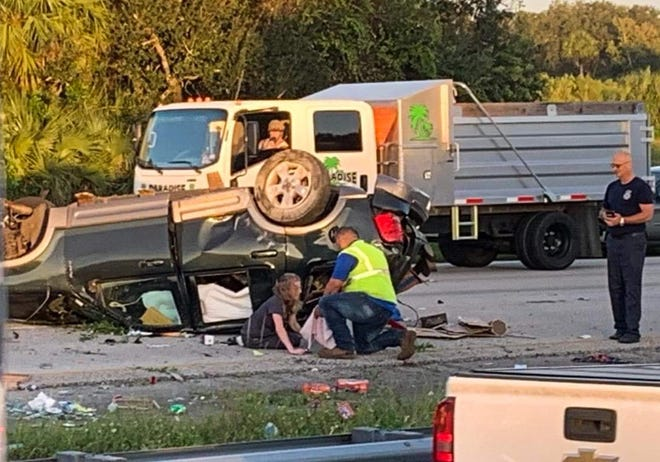Northbound lanes of Interstate 95 in Viera between the Wickham Road and State Road 404 exits were slowed after a crash with injuries Friday morning.