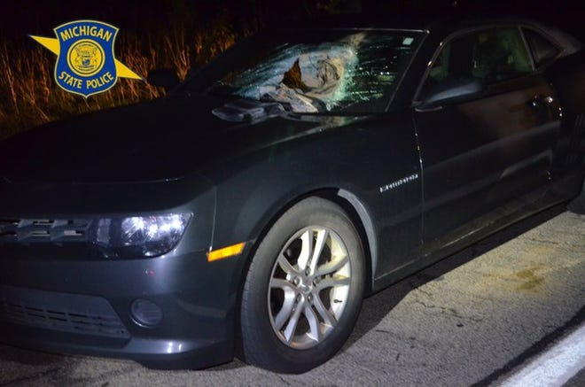 A sandbag went through the windshield of a woman's car as she was driving on Interstate 96 Oct. 4, 2020.