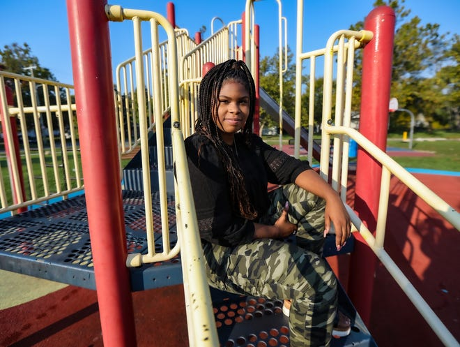 Ragine Head, 23, of Detroit is the director of grassroots policy action for One Love Global non-profit, that promotes racial equity and systemic change through racial healing, truth and transformation and is photographed at Mansfield-Diversey park in Detroit on Oct. 9, 2020. Head is a 2020 graduate from Michigan State University with a Bachelor's degree in Social Relations and Policy with a minor in Peace and Justice Studies.