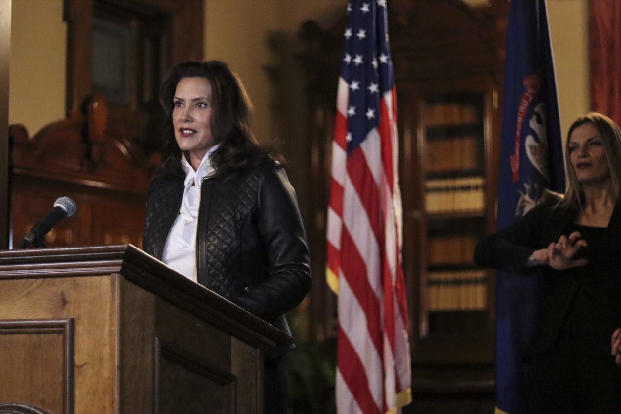 Gov. Gretchen Whitmer delivers prepared remarks Oct 8, 2020, on the plot to kidnap her that was thrwarted by law enforcement and the FBI