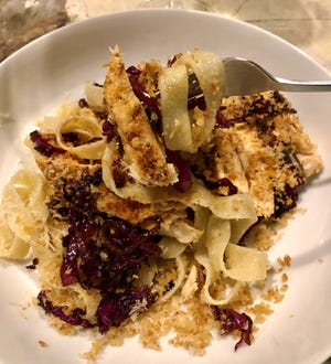 Toasted panko makes for a simple, easy schnitzel-style chicken with pasta and red-cabbage sauerkraut.