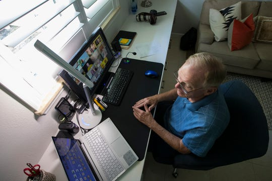 Cape Coral resident Gary Eidson participates in a video chat session which includes social time, presentations by members and Q&As.