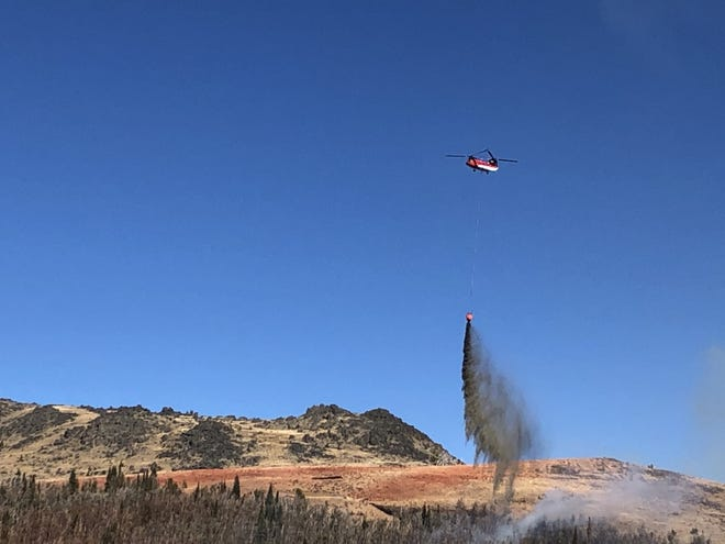 A water drop on the west side of the Yogo Fire on Oct. 7.