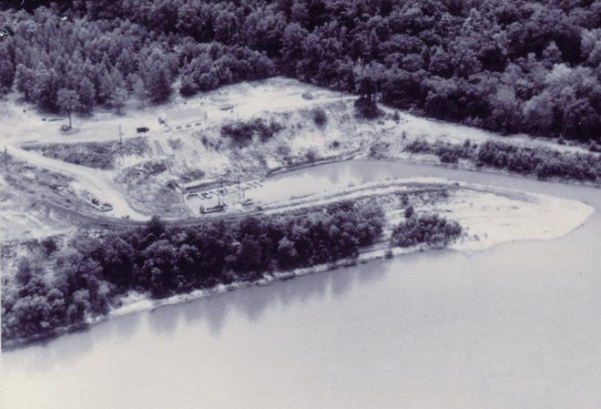 The Henderson Boat Club, which operated in Atkinson Park between 1946 and 1965. The lagoon was located between Hays Boat Ramp and the mouth of Sugar Creek, but little of it remains. This Gleaner file photo appears to date from about 1965 before the clubhouse burned Dec. 26  of that year. Note the harbor boat at the end of the lagoon that was used to push out accumulated silt.