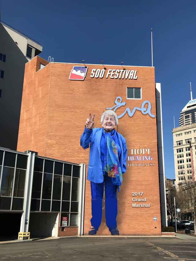 A rendering of the mural to honor Eva Kor on the 500 Festival building in downtown Indianapolis. The mural will be painted by artist Pamela Bliss, based on a photo by Mika Brown.