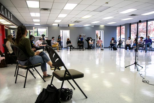 Community members attend an Iowa City City Council Listening Post on community policing, Thursday, Oct. 8, 2020, at Dream City in Iowa City, Iowa.