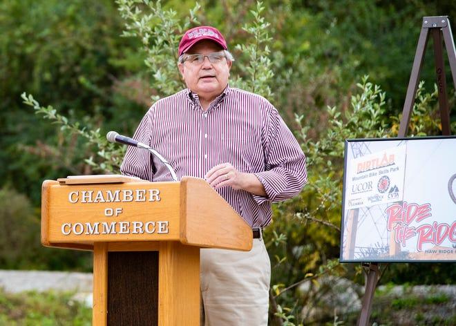 The mayor of Oak Ridge Warren L. Gooch speaks at the grand opening of the DIRTLAB pumptrack in Oak Ridge, Tenn., on Friday, Oct. 9, 2020.