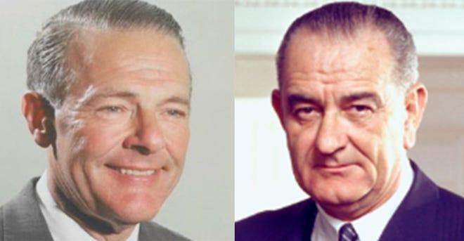 Henry Cabot Lodge Jr., left, and Lyndon B. Johnson.