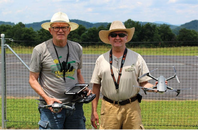 This photo by Bill Leonard taken from the Knox County Radio Control newsletter in July 2017, and posted online, shows Jerel Zarestky, left, and Rick Thompson with their new drones. One of Zarestky's daughters told a WATE-TV news reporter that her father had a variety of interests, including pickleball, and flying.
