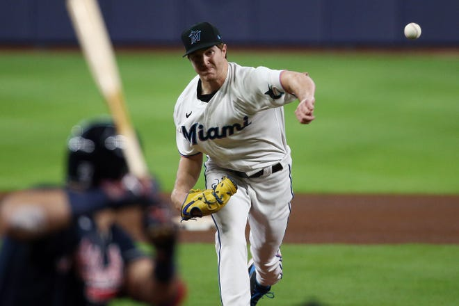 Trevor Rogers pitches against the Atlanta Braves in a relief effort during the fourth inning of Game 3 of the 2020 NLDS at Minute Maid Park.