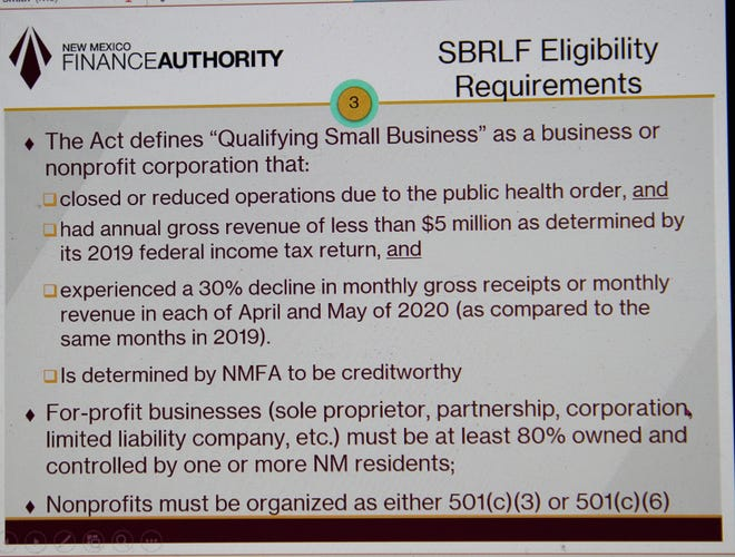 Eligibility requirements of the 2020 Small Business Recovery Act were discussed during a meeting of the New Mexico Finance Authority Oversight meeting on Oct. 9, 2020.