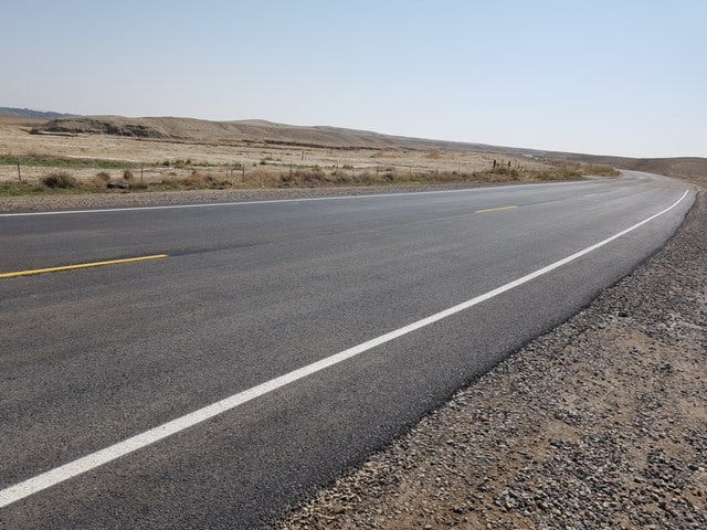 Navajo Route 57 near milepost 3.70 after damaged pavement was replaced.