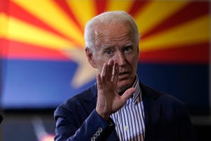 Democratic presidential candidate former Vice President Joe Biden speaks at the Carpenters Local Union 1912 in Phoenix on Oct. 8, 2020, to kick off a small business bus tour.