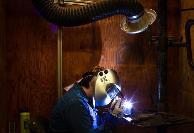 Sebastian Ratcliff tig welds, Sept. 14, 2020, at GateWay Community College Central City, 1245 E Buckeye Road, Phoenix.