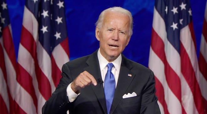 Una captura de imágenes de la transmisión en vivo del Comité de la Convención Nacional Demócrata que muestra a Joe Biden hablando durante la última noche de la Convención Nacional Demócrata (DNC) de 2020 en Milwaukee, Wisconsin, EE.UU.