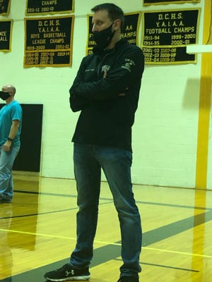 Delone Catholic girls' volleyball coach Jason Leppo is shown during Thursday's victory over Littlestown.