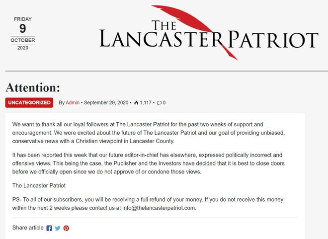 This screen shot of The Lancaster Patriot website was taken Oct. 9, 2020.