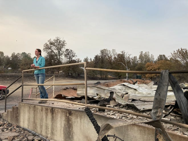 Shelby Tucker on Thursday visited the Ono Grange for the first time since it burned down in the Zogg Fire last month.