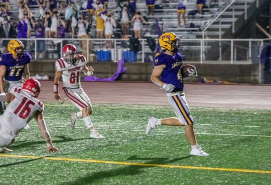 Byrd running back William Berry finishes off the second of two touchdowns in Thursday's victory against Haughton.