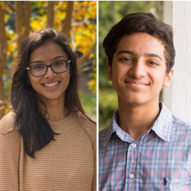 Rohan Chadha, right, a student at Lawton Chiles High School, and Neha Iyer, an undergraduatestudent at the University of Florida, decided to start the initiativecalled Colors for Coats.