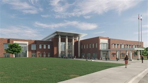 This is an artist's rendering of a proposed high school exterior. Voters will go to the polls Nov. 3 to cast a ballot on a $290 million bond issue to build two new high schools in Wichita Falls ISD.