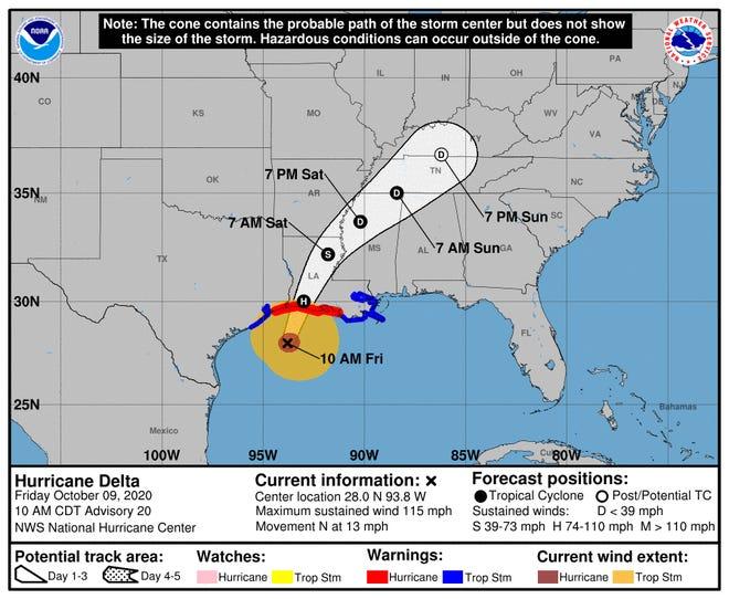Trayectoria proyectada del huracán Delta a las 10 am EDT del 9 de octubre de 2020.