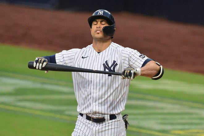 Rays-Yankees, Game 4: Giancarlo Stanton reacts after striking out in the fifth.