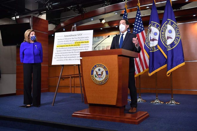 US Speaker of the House, Nancy Pelosi (L), Democrat of California, and Representative Jamie Raskin, Democrat of Maryland, speak to the press on Capitol Hill in Washington, DC, on October 9, 2020. Pelosi and Raskin introduced legislation that will create the Commission on Presidential Capacity to Discharge the Powers and Duties of Office, the body and process called for in the 25th Amendment to the US Constitution to enable Congress to help ensure effective and uninterrupted leadership in the office of the president.