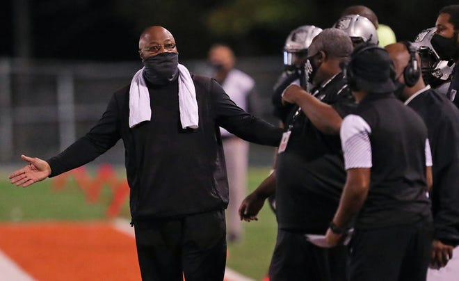 Longtime Buchtel football coach Ricky Powers has stepped down as leader of the Griffins. [Jeff Lange/Beacon Journal]
