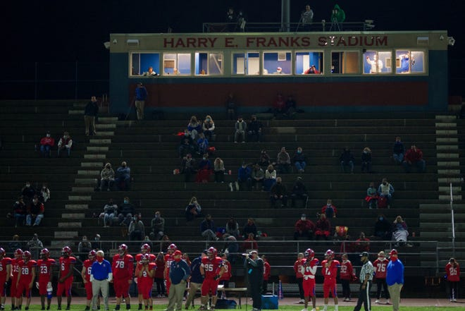 Neshaminy fans sit socially distanced during an Oct. 9 home loss to Pennridge.