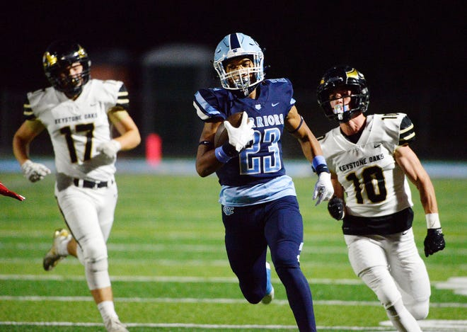 Central Valley running back Landon Alexander heads to the end zone in a game earlier this season against Keystone Oaks.