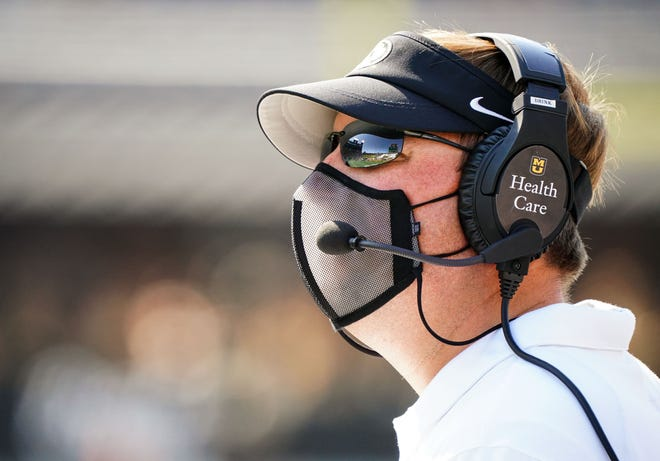 Missouri head football coach Eli Drinkwitz looks on from the sideline during a game against LSU last season at Faurot Field.