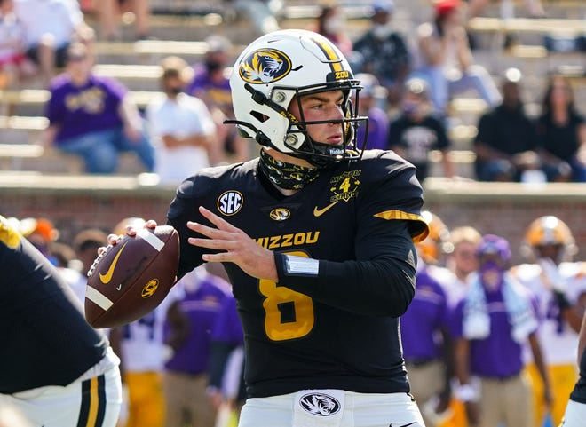 Missouri quarterback Connor Bazelak (8) throws a pass against LSU during a Southeastern Conference game Saturday at Faurot Field.