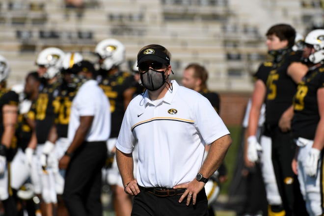 Missouri head coach Eliah Drinkwitz is seen before the start of an NCAA college football game between LSU and Missouri Saturday, Oct. 10, 2020, in Columbia.