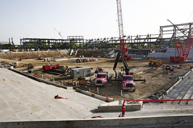 Construction on the Crew's new stadium is moving quickly. Some 86% of the steel has been set inside the new facility. Fred Squillante/Columbus Dispatch