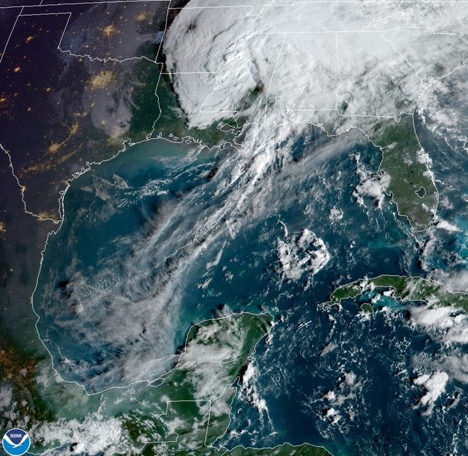 The remains of Hurricane Delta move out of Louisiana.