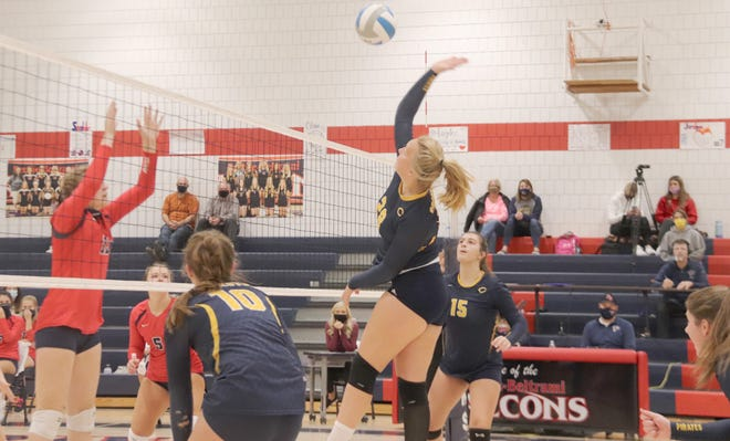 Mallorie Sundeen and the Crookston volleyball team lost in three sets at Fertile-Beltrami on Saturday.