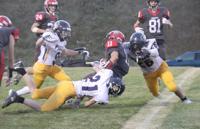 Crookston gave up 233 yards rushing, including 118 to Anthony Sykora, in a 24-6 defeat to West Central Area/Ashby on Friday night.