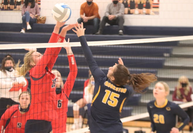 Libby Salentine tries to get the ball over the Fertile-Beltrami middle blocker.