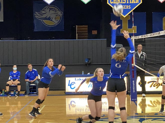 Central Christian attacks the net in a win over Lake Center Christian.