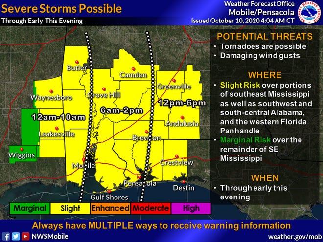 Slight risk of severe storms