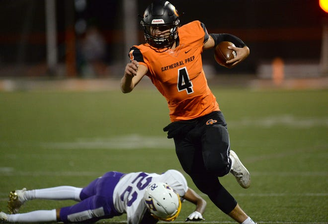 Cathedral Prep quarterback Tamar Sample carries the ball against Erie High on Oct. 9 at Dollinger Field. Sample leads Prep into a PIAA Class 5A first-round playoff game against Hollidaysburg on Friday night at Dollinger Field.