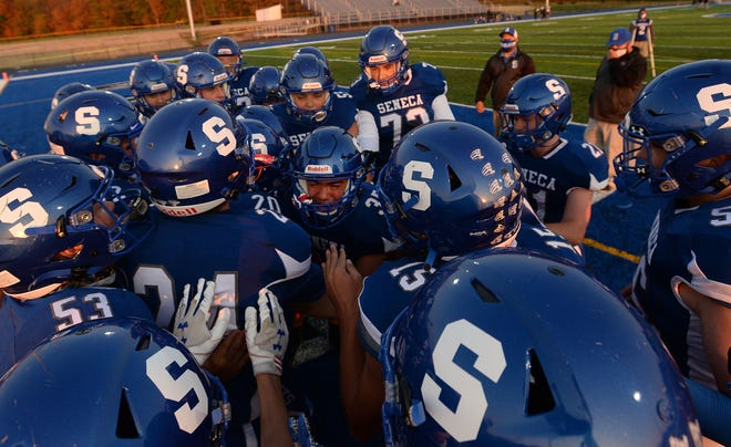 Seneca gets ready to play Union City on Friday in the District 10 football game at Diffenbacher Field at Seneca.